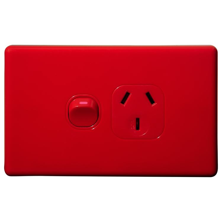 Voltex Classic Red Horizontal Single Power Outlet 250V 10A