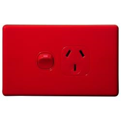 Voltex Classic Red Horizontal Single Power Outlet 250V 10A with Safety Shutters
