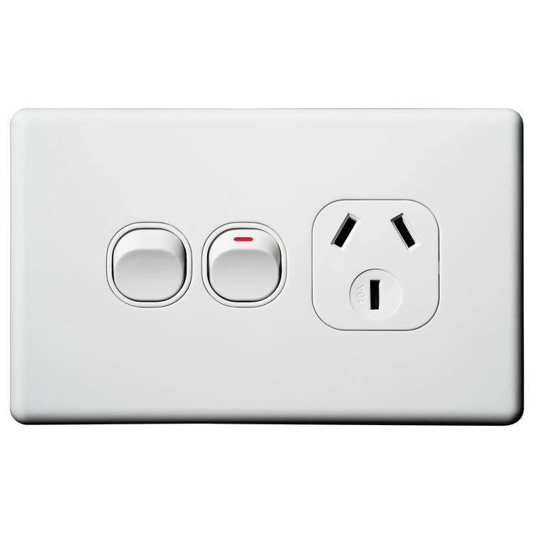Voltex Classic Horizontal Single Power Outlet 250V 10A with Extra Switch