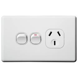 Voltex Classic Horizontal Single  Power Outlet 250V 10A with Extra Switch and Safety Shutters