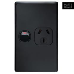 Voltex Classic Matte Black Vertical Single Power Outlet 250V 10A with Safety Shutters