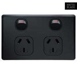 Voltex Classic Black Horizontal Double Power Outlet 250V 10A with Safety Shutters