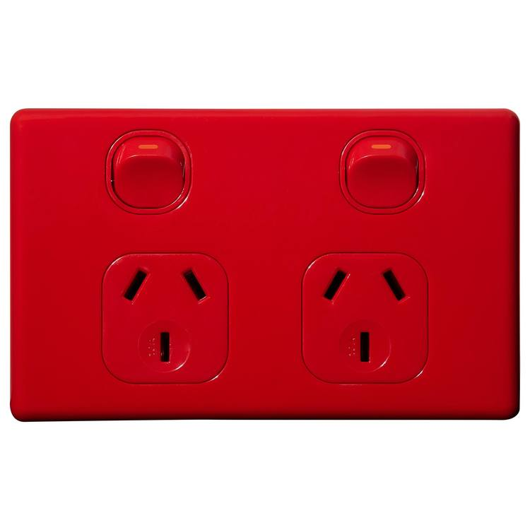 Voltex Classic Red Horizontal Double Power Outlet 250V 10A