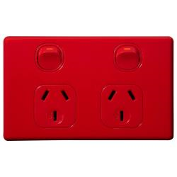 Voltex Classic Red Horizontal Double Power Outlet 250V 10A with Safety Shutters
