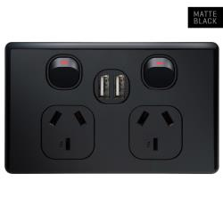 Voltex Classic Black Double Power Outlet 250V~ 10A & 2 x 2.1 A USB Outlets