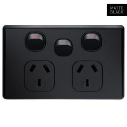Voltex Classic Black Horizontal Double Power Outlet 250V 10A with Extra Switch and Safety Shutters