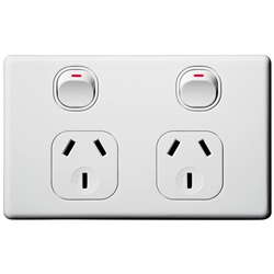 Voltex Classic Horizontal Double Power Outlet 250V 10A with Safety Shutters