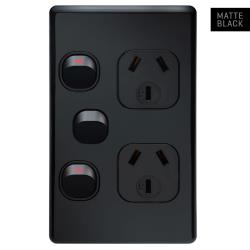 Voltex Classic Matte Black Vertical Double Power Outlet 250V 10A with Extra Switch and Safety Shutters