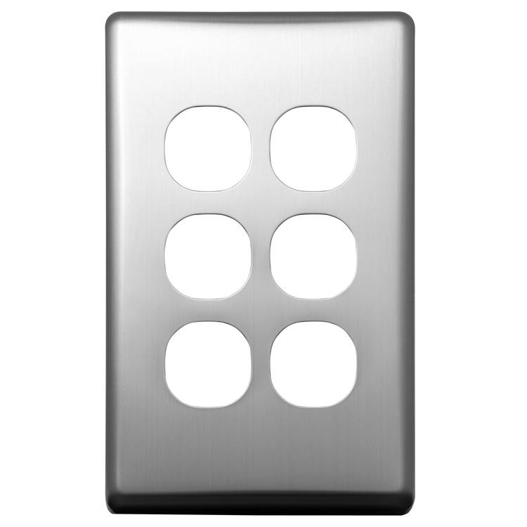 Voltex Classic Stainless Steel Cover Plate for 6 Gang Switch