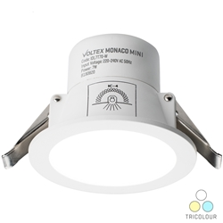 Voltex Monaco Mini 7W - 70mm IP44 Integrated Driver LED Downlight - CCT Tricolour - Changeable