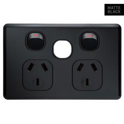 Voltex Shadowline (7.4mm) Black Double Power Outlet with Extra Switch Provision