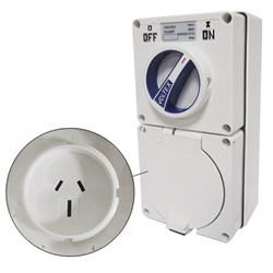 Voltex Switched Socket Outlets - IP56 250V 15A - 3 Flat pins -  Chemical Resistant White